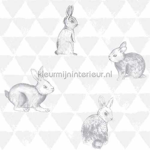 Hippe konijntjes grijs behang OZ 3269 aanbieding behang Onszelf