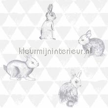 Hippe konijntjes grijs carta da parati Onszelf sale wallcovering