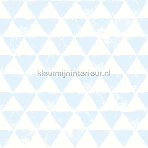 Driehoekjes licht blauw behang OZ 3274 aanbieding behang Onszelf