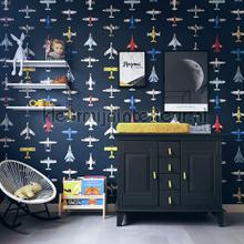 Vliegtuigjes donker behang Studio Ditte jongens
