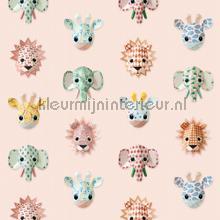Wilde dieren roze papel pintado Studio Ditte Wallpaper creations