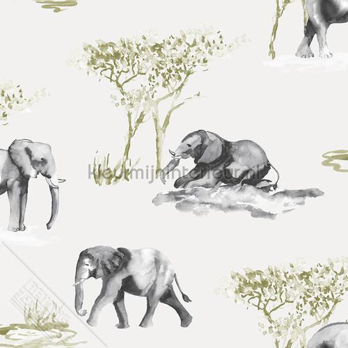 Olifanten aquarel schets tapet 27144 Thomas Behang Expresse