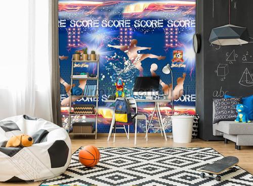 Behang Kinderkamer Voetbal : Scorebord voetbal ink fotobehang thomas behang expresse