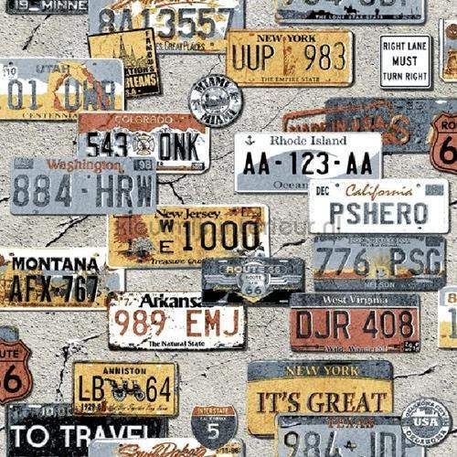 Nummerplaten collage tapet th27117 Thomas Behang Expresse