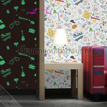 Kinderschrift met glittereffect tapet we66223 Thomas Behang Expresse