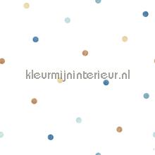 Overal blauwe en beige puntjes behang Noordwand Baby Peuter