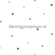 Overal grijze en beige puntjes behang Noordwand Baby Peuter