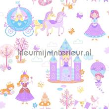 Prinsessen pret paars behang Noordwand Baby Peuter