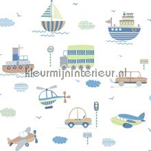Vliegen varen en rijden blauw groen behang Noordwand Baby Peuter