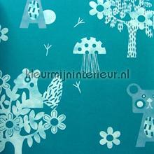 Animaux de la forêt bleu behang Eijffinger Tout Petit 354041