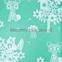 Animaux de la forêt turquoise behang Eijffinger Tout Petit 354042