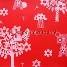 Animaux de la forêt rouge behang Eijffinger Tout Petit 354043