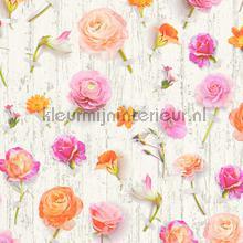 Bloemen en planken tapeten AS Creation Urban Flowers 327231