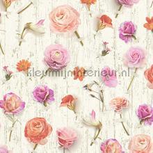 Bloemen en planken tapeten AS Creation Urban Flowers 327233