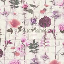 Bloemen en bakstenen tapeten AS Creation Urban Flowers 327251