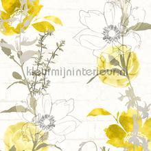 Bloemenslinger op bakstenen tapeten AS Creation Urban Flowers 328002