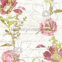 Bloemenslinger op bakstenen tapeten AS Creation Urban Flowers 328004