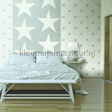Grijze vintage sterretjes behang 17321 sterren Dutch Wallcoverings