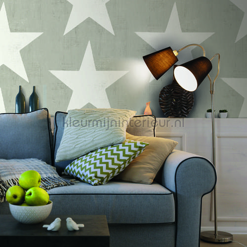Grote witte vintage ster behang 17324 sterren Dutch Wallcoverings
