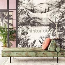 Hangeschilderd landschap zwart wit papier murales Eijffinger Vivid 384604