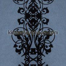 Barok streep velours blauw behang Eijffinger behang