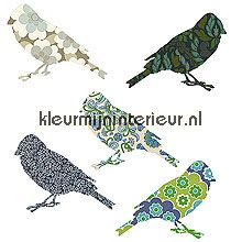 2 vogeltjes blauw papel de parede Inke Wallpaper creations