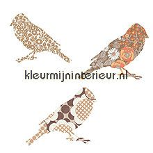 2 vogeltjes bruin papel de parede Inke Wallpaper creations