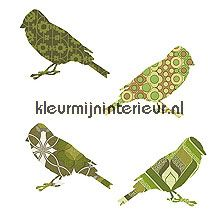 2 vogeltjes groen papel de parede Inke Wallpaper creations