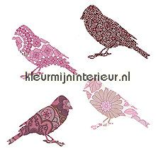 2 vogeltjes roze papel de parede Inke Wallpaper creations