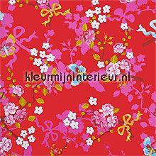 pip chinese rose red behang Eijffinger PiP Wallpaper 386035