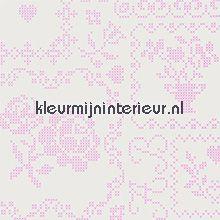 pip pink crossstitch behang Eijffinger PiP Wallpaper 386000