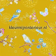 pip early bird ochre gold wallcovering Eijffinger PiP Wallpaper 386014