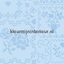 pip crossstitch blue behang Eijffinger PiP Wallpaper 386002