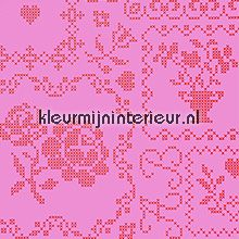 pip crossstitch pink behang Eijffinger PiP Wallpaper 386003