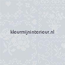 pip crossstitch silver behang Eijffinger PiP Wallpaper 386004