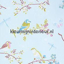 pip early bird blue fotobehang Eijffinger PiP Wallpaper 386011