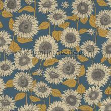 Sunflowers oudblauw oker carta da parati Kleurmijninterieur tinta unita