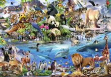 Animals all over the world fotobehang Kleurmijninterieur dieren