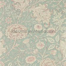 Double bough teal rose wallcovering Morris and Co Vintage- Old wallpaper