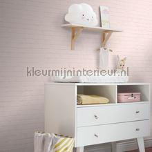 Bakstenen muur pastel roze papel pintado Esta home rayas