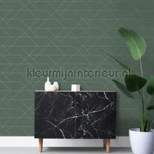 Diagonaal lijnenspel donkergroen wallcovering Esta home Wallpaper creations