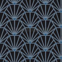 Arte deco blauw zwart tapet Kleurmijninterieur All-images