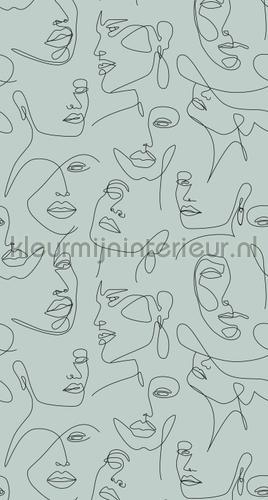 Line arte faces fotomurales 156-158957 Moderno - Abstracto Esta home