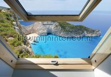 Blue sea window view fotomurais Kleurmijninterieur Todas-as-imagens