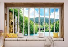 Waterfall seen through window fotomurais Kleurmijninterieur Todas-as-imagens