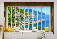 Bay seen through window fotomurais Kleurmijninterieur Todas-as-imagens