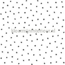 Sneeuwvol polka dot stippen wit zwart behang Esta home Black and White 155-138934