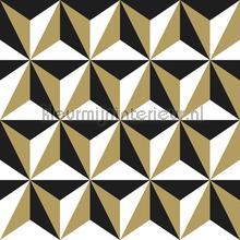 Grafisch 3d zwart goud tapet Esta home Vintage Gamle