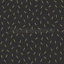 Grafisch losse streepjes zwart goud behang Esta home Black and White 155-139128