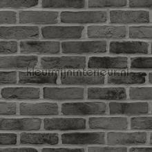 Bakstenen muur glad donkergrijs wallcovering Esta home Wallpaper creations